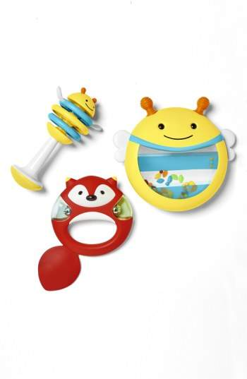 A trio of whimsical creatures-a buzzing bee shaker drum, a sly fox tambourine and a bright clacker with flexible wings-is designed to spark your little one's musical inclinations.