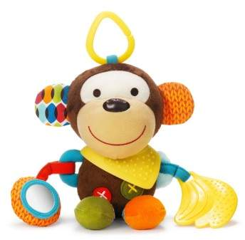 A plush, snuggly monkey is designed with lots of textures and sounds for your little one to discover as she develops multiple senses. Attach to your car seat, stroller or carrier for on-the-go fun.