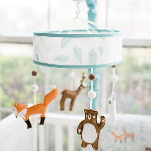 Lull your baby to sleep with this musical rotating crib mobile. The rotating musical mobile features sweet little woodland forest friends. Fits standard size crib rails. Rotating wind up mobile plays Brahm's Lullaby.
