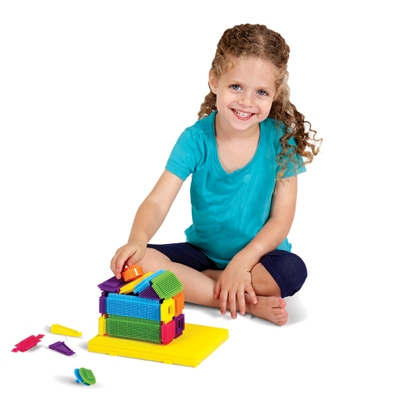 Travel Brix are unique flexible bristle blocks that stay together until you take them apart!  Included with the set is a playboard to hold your creation so it's possible to build on the go in a car, plane, boat....wherever you find yourself!   Colorful Travel Brix help spark creativity, fine motor skills, logic and reasoning.