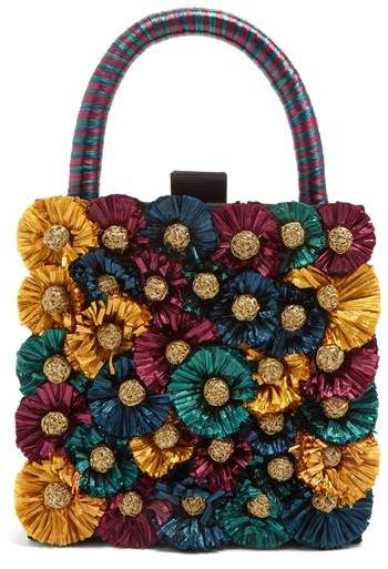 The 3-D teal-blue, green, purple, and metallic-gold florals that adorn this black twill Flora box clutch offer a fresh expression of Sanayi 313's artisanal approach to evening accessories. It's crafted in Italy with a slender top handle wrapped in blue and purple raffia, then opens up to reveal a black satin interior. Tease out the vibrant-blue hues by styling it with a coordinating silk robe dress.