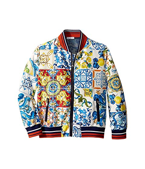 They' ll enchant their peers with iconic style in this Dolce Gabbana Kids Nylon Maiolica Jacket. Letterman bomber jacket with multifaceted print.