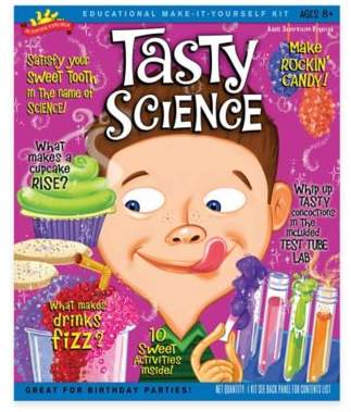 Why does a cake rise? Why does soda pop fizz? The Tasty Science Kit helps your child discover the answers with yummy experiments they can perform to satisfy their curiosity and sweet tooth. Includes ingredients, recipes, test tubes, and more.