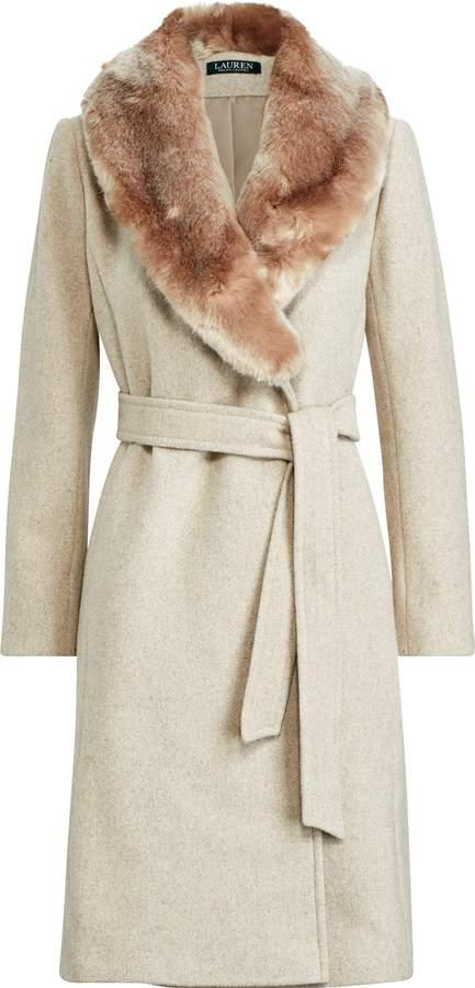 Ralph Lauren Faux Fur-Trim Shawl Coat