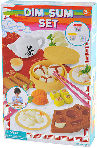 Modeling Clay Dim Sum Set. Including three bright modeling clay colors, this set lets kids unleash their creative side and make dim sum with all the essential tools. Includes three jars of modeling clay, plates, chopsticks, dim sum cutters, food props, teapot and teacup