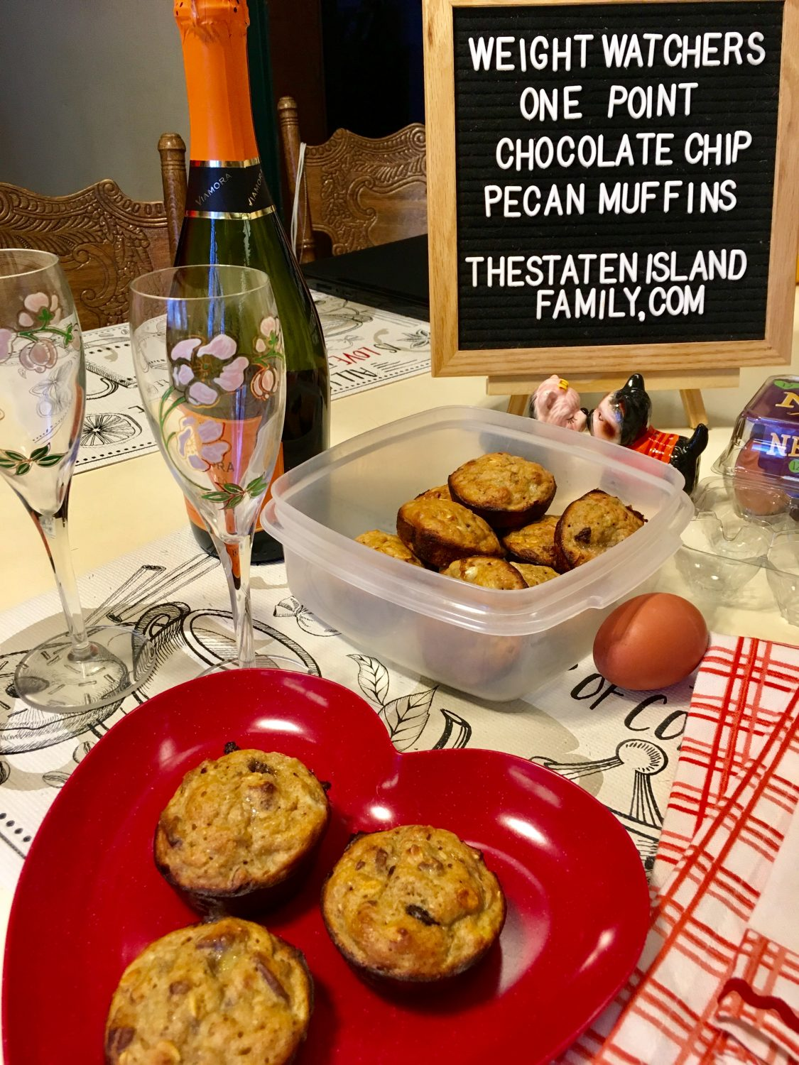 Weight Watchers One Point Chocolate Chip Pecan Muffins