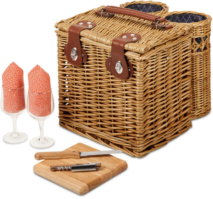 Two insulated wine caddies adorn the outside of the Vine wine and cheese picnic basket from Picnic Time. In addition to the bottle storage, the lined picnic basket features interior storage for food, cheese and accessories and comes with a wine and cheese set for two.