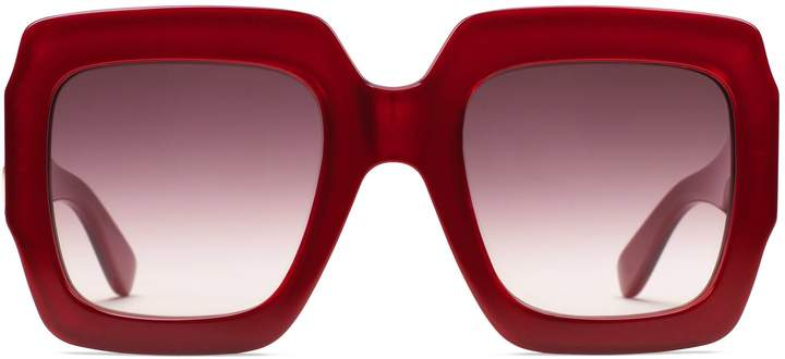 I love these GUCCI sunglasses that are Crafted from red triple layered acetate. These oversize square-frame spectacles have a finished glossy effect. Shaded lenses add a subtle contrast to the pop inspired shape, while the emblematic Interlocking G enhances the temples.