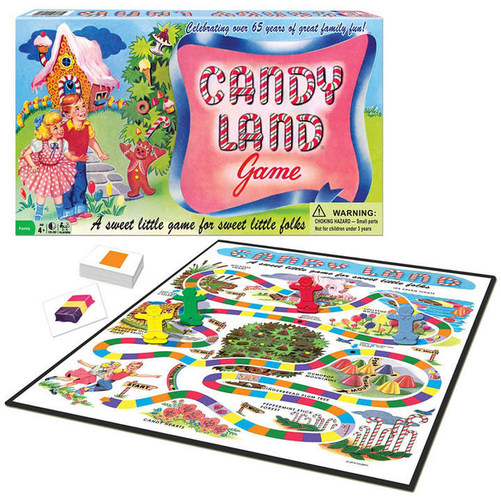 Featuring the charming graphics of the game's early days, this edition of Candy Land will bring back fond memories of Gumdrop Mountains, Candy Hearts, the Peppermint Stick Forest, Lollypop Woods, Ice Cream Floats, the Gingerbread Plum Tree, the Crooked Old Peanut Brittle House and Molasses Swamp