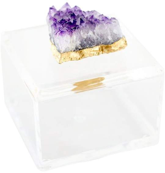 Stylish yet functional it Features a sleek, translucent acrylic box and lift off lid topped with a gorgeous cluster of amethyst, this decorative box measures four inches wide, by four inches deep, by three inches high, and is an elegant addition to any home.
