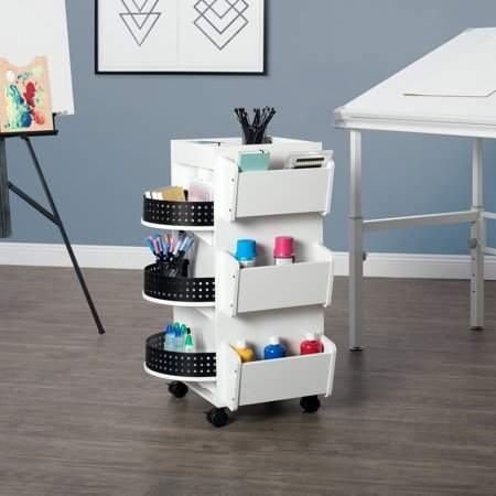 Keep your supplies organized and easily within reach with this Studio Designs Swivel Organizer. This multi-compartment piece is useful for keeping a variety of art and hobby supplies, as well as other knick-knacks. It features nine shelves of varying sizes, three hooks for towels and fabric and four casters for easy wheeling and transport. This swivel storage organizer has three revolving shelves for compact storage.