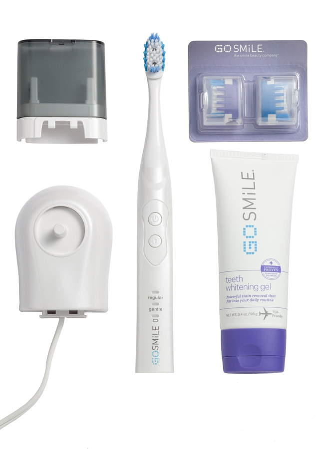 The system includes a teeth whitening gel, that when used with your favorite toothpaste twice a day when you brush, is proven to whiten four times faster than a comparable brush whitening system