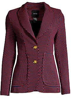 A tailored blazer with an optical check print for a vintage-feel.