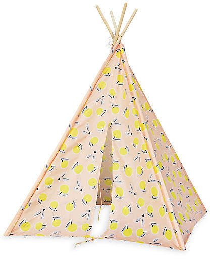 Draped in durable, machine-washable canvas with a cheery lemon pattern and pine support poles, this teepee provides an imaginative nook for kids to read, draw, and play—ensuring hours of fun for your little one.