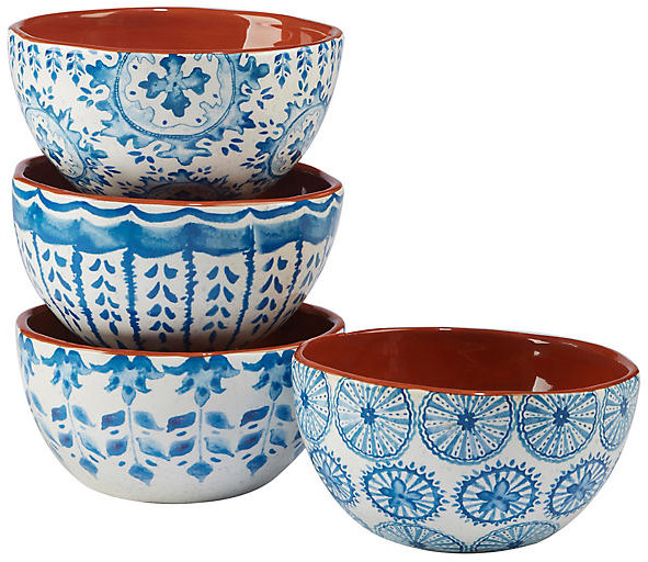 These stylish bowls are each crafted of ceramic and detailed with a lively design in blue and white.