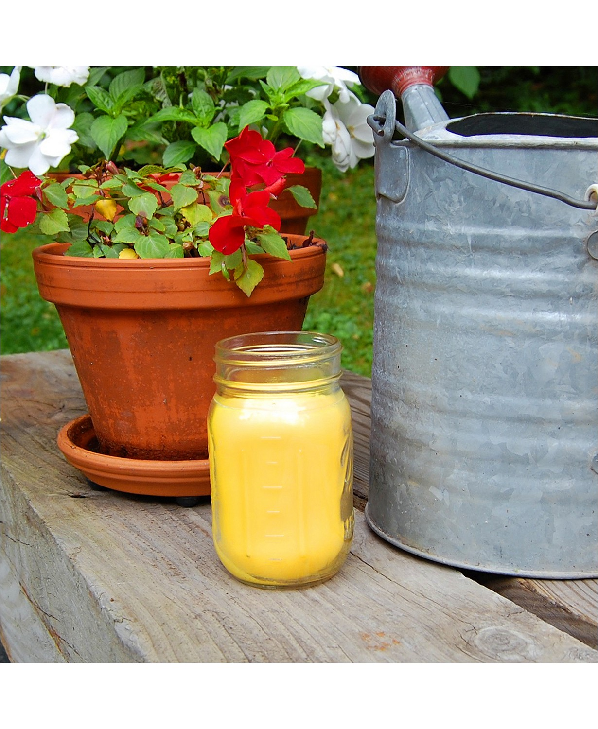These 3 trendy glass 12oz. Mason jars are filled with the finest paraffin and citronella scented oil. These beautiful yellow candles will add a splash of color to an outdoor picnic, party or special occasion while keeping pesky bugs away from your guests.