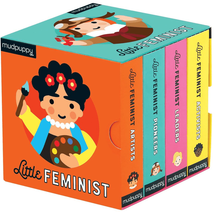 Mudpuppy's Little Feminist Board Book Set is comprised of colorfully illustrated portraits of real women who have made a historical impact on the world. Illustrations by Lydia Ortiz and words by Emily Kleinman introduce children to these important people in history with images that are fun for youngsters and also realistic. The Board Book Set includes 4 mini board books (Pioneers, Artists, Leaders, and Activists.) -