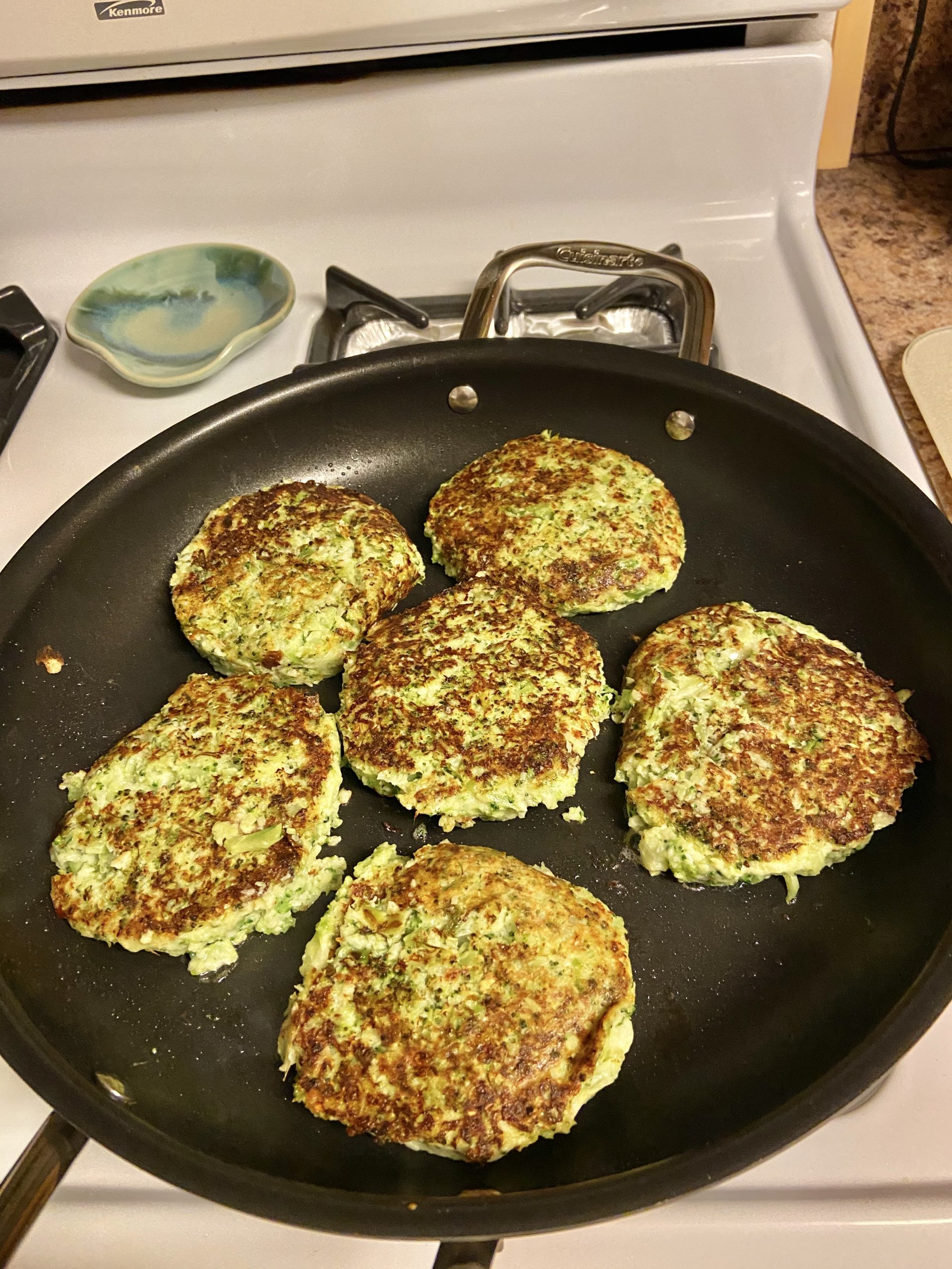 Broccoli Burgers -a little over two points each on Weight Watcher blue