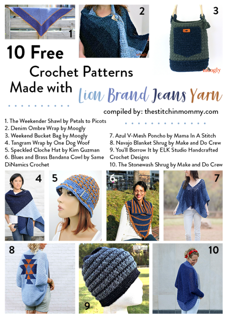 10 Free Crochet Patterns Made with Lion Brand Jeans Yarn compiled by The Stitchin' Mommy | www.thestitchinmommy.com