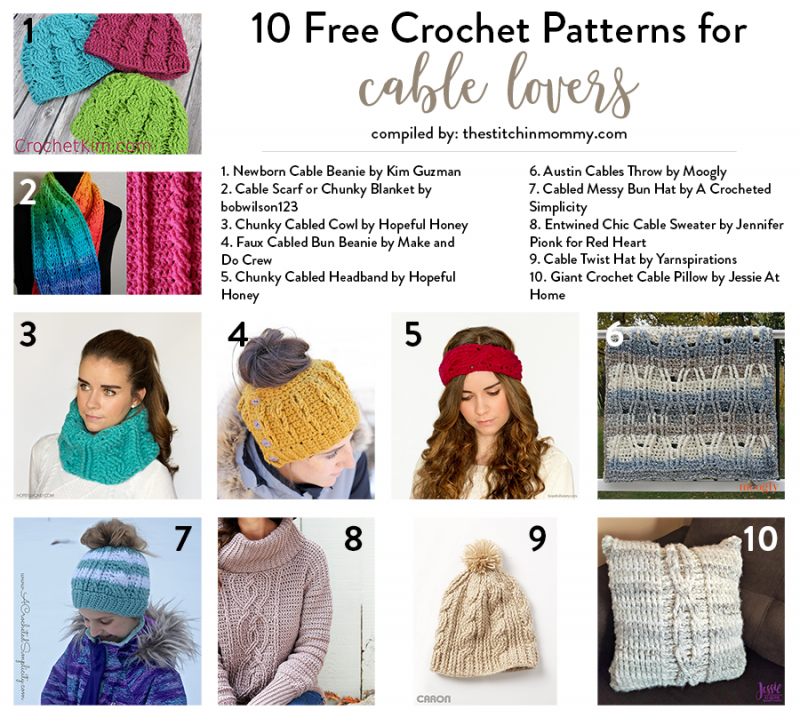 10 Free Crochet Patterns for Cable Lovers compiled by The Stitchin  Mommy  72471c1ba6f