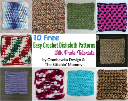 10 Free Easy Dishcloth Patterns with Photo Tutorials by Oombawka Design and The Stitchin' Mommy | www.thestitchinmommy.com
