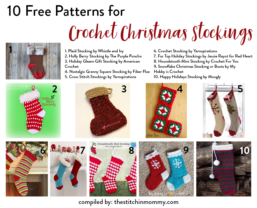 10 free patterns for crochet christmas stockings the stitchin mommy