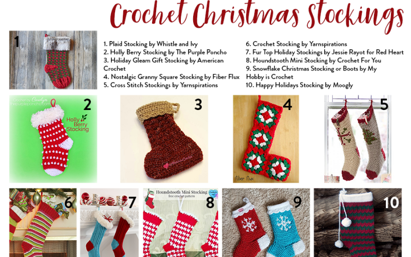 10 Free Patterns for Crochet Christmas Stockings