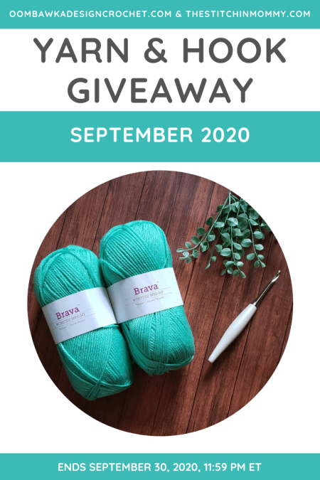 Yarn and Hook Giveaway - September 2020 | Hosted by The Stitchin' Mommy and Oombawka Design: September 19, 2020 - September 30, 2020 | www.thestitchinmommy.com