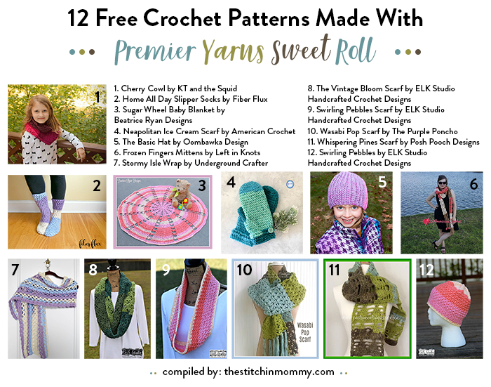 I hope you enjoy these 12 free crochet patterns using Premier Yarns Sweet  Roll. Happy Crocheting! 414a8876a