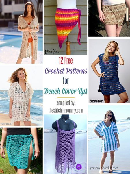 12 Free Crochet Patterns for Beach Cover Ups compiled by The Stitchin' Mommy | www.thestitchinmommy.com