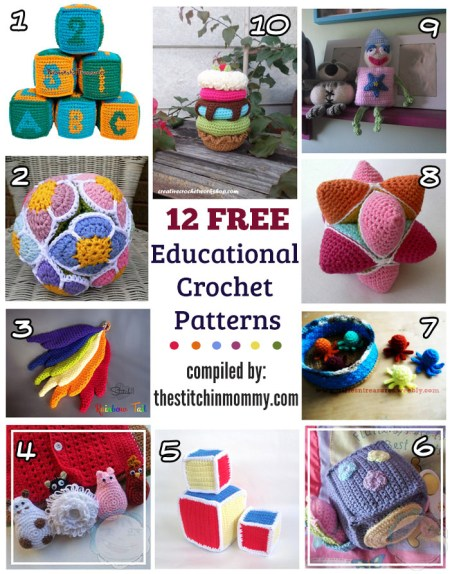 12 Free Educational Crochet Patterns compiled by The Stitchin' Mommy | www.thestitchinmommy.com