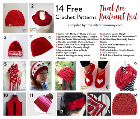 14 Free Crochet Patterns That Are Radiant Red compiled by The Stitchin' Mommy | www.thestitchinmommy.com