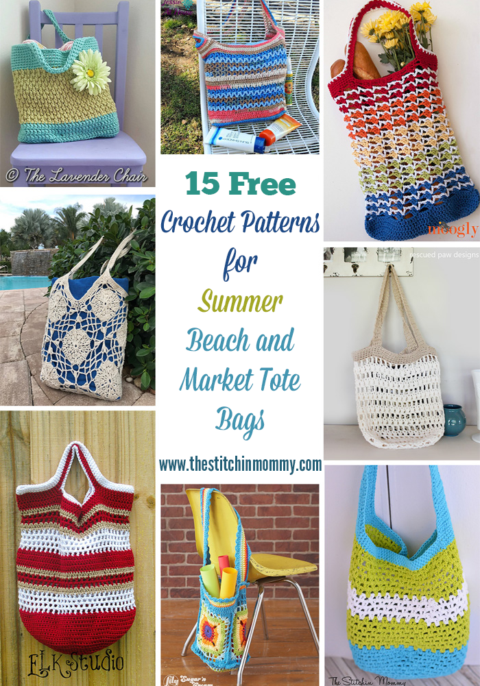 15 Free Crochet Patterns for Summer Beach and Market Tote Bags compiled by The Stitchin' Mommy | www.thestitchinmommy.com