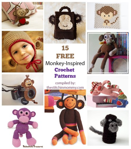 15 Free Adorable Monkey-Inspired Crochet Patterns compiled by The Stitchin' Mommy   www.thestitchinmommy.com
