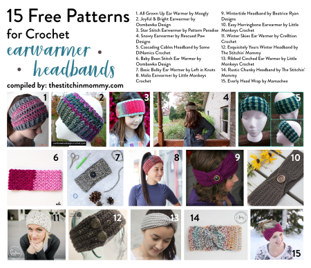 15 Free Patterns for Crochet Earwarmer Headbands compiled by The Stitchin' Mommy | www.thestitchinmommy.com