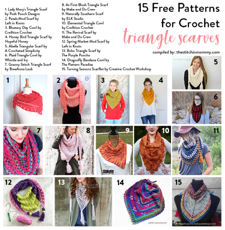 15 Free Patterns for Crochet Triangle Scarves compiled by The Stitchin' Mommy | www.thestitchinmommy.com