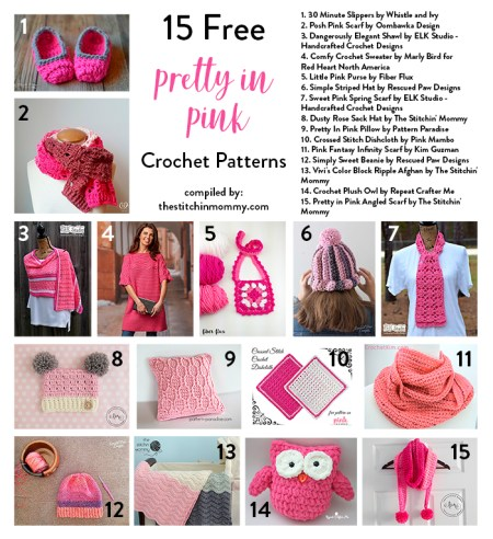15 Free Pretty In Pink Crochet Patterns compiled by The Stitchin' Mommy | www.thestitchinmommy.com