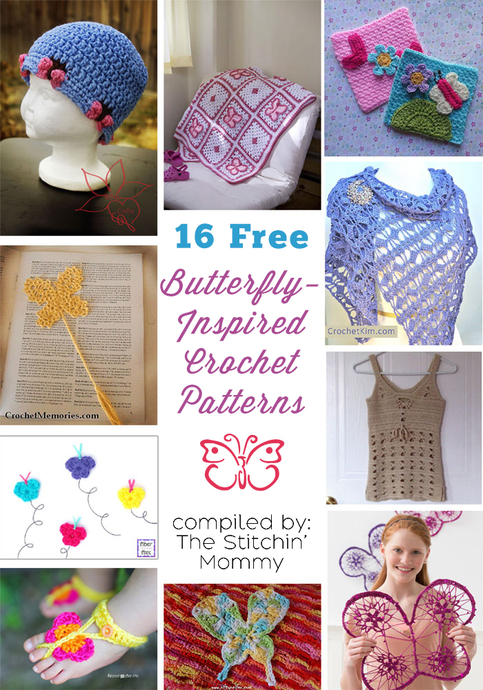 16 Free Butterfly Crochet Patterns