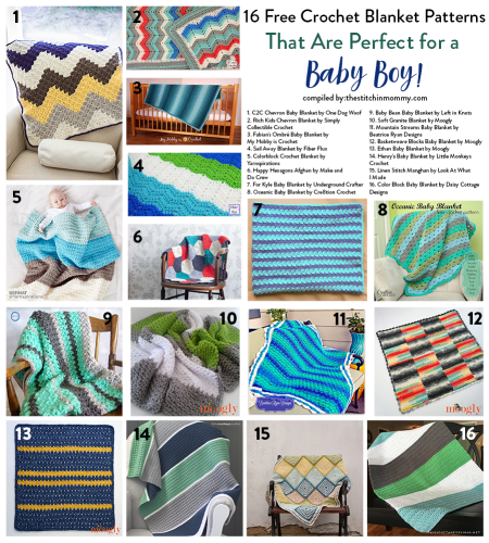 16 Free Crochet Blanket Patterns That Are Perfect for a Baby Boy compiled by The Stitchin' Mommy | www.thestitchinmommy.com