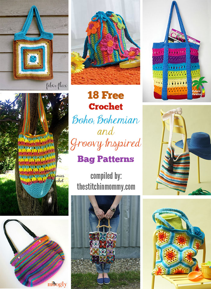 18 Free Crochet Boho, Bohemian and Groovy Inspired Bag Patterns compiled by The Stitchin' Mommy | www.thestitchinmommy.com
