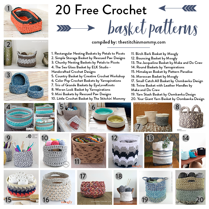 20 Free Crochet Basket Patterns To Help You Get Organized The