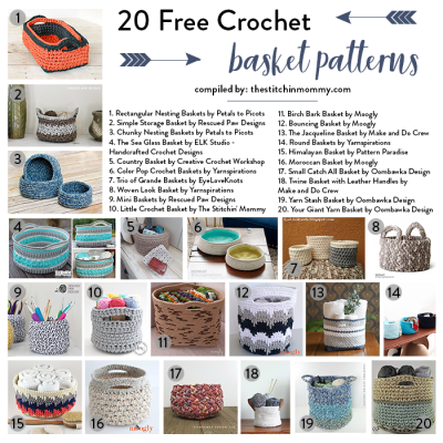 20 Free Crochet Basket Patterns to Help You Get Organized!