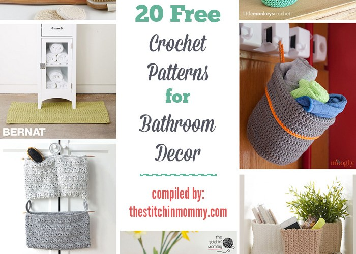20 Free Crochet Patterns for Bathroom Decor