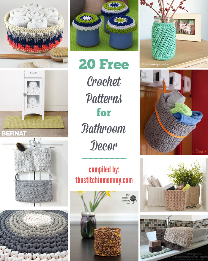 20 Free Crochet Patterns for Bathroom Decor compiled by The Stitchin  Mommy    www. 20 Free Crochet Patterns for Bathroom Decor   The Stitchin Mommy