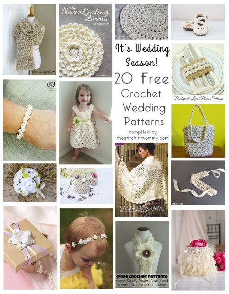 It's Wedding Season! 20 Free Crochet Wedding Patterns compiled by The Stitchin' Mommy | www.thestitchinmommy.com
