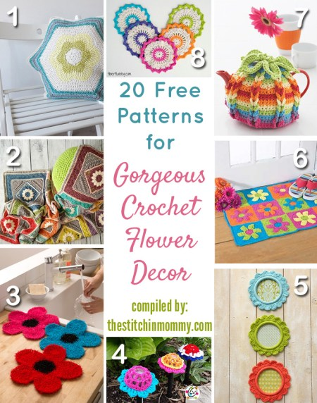 20 Free Patterns for Gorgeous Crochet Flower Decor compiled by The Stitchin' Mommy | www.thestitchinmommy.com