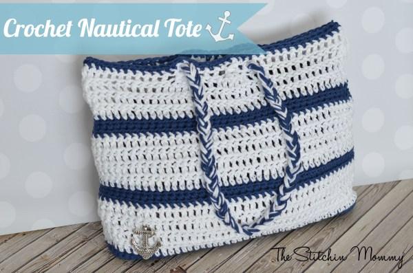 Crochet Nautical Tote www.thestitchinmommy.com