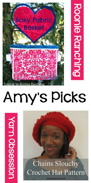 Amy's Picks |Boxy Fabric Basket/Chains Slouchy Crochet Hat Pattern | Tuesday PIN-spiration Link Party