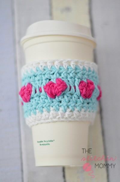 Cup Full of Love Crochet Coffee Cozy - Free Pattern | www.thestitchinmommy.com #Valentine #crochet #coffeecozy #hearts