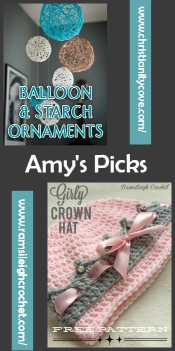 Amy's Picks |Balloon and Starch Ornaments/Girly Crown Hat | Tuesday PIN-spiration Link Party